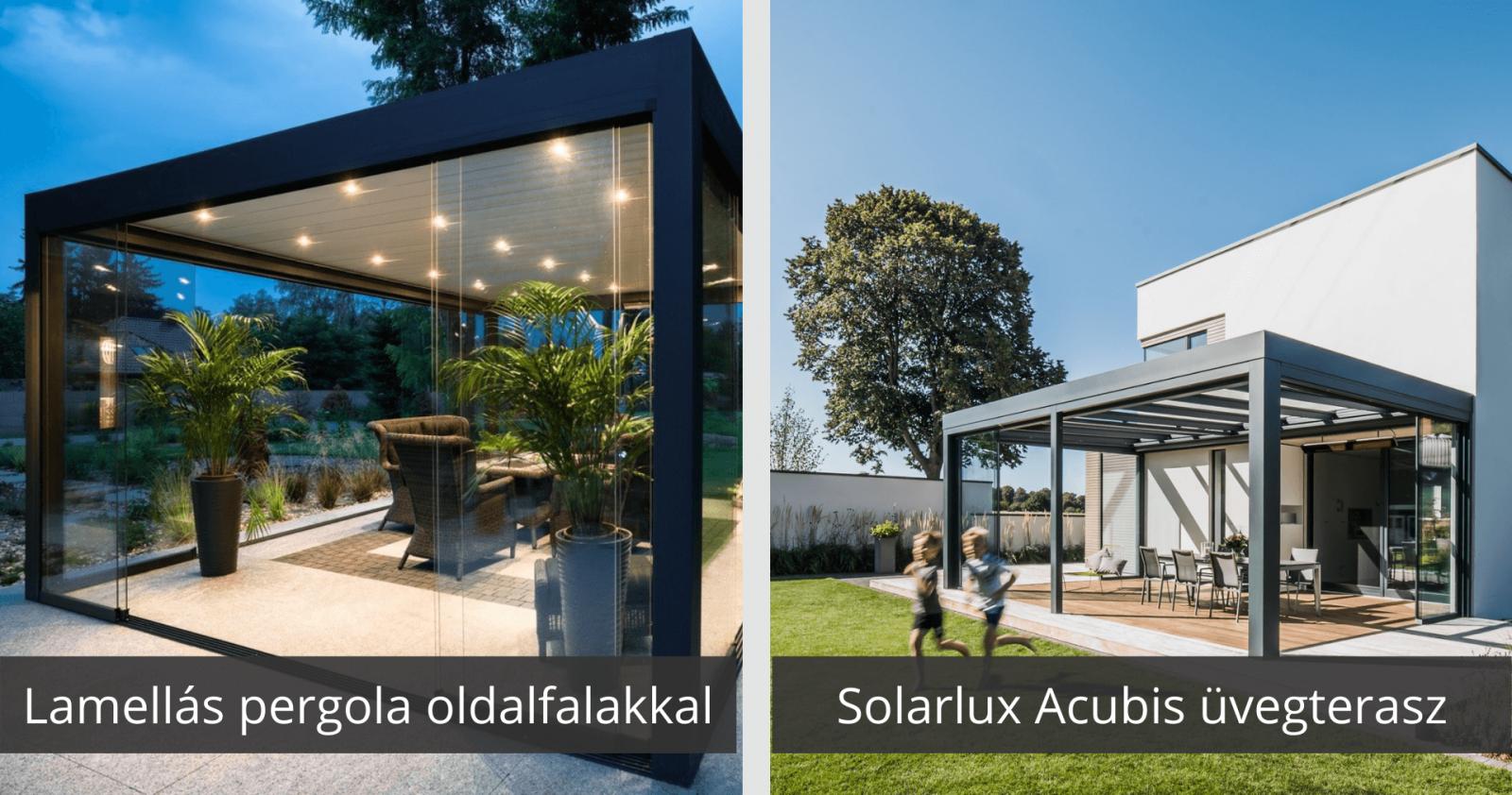 Lamellás pergola kontra Solarlux Acubis üvegterasz