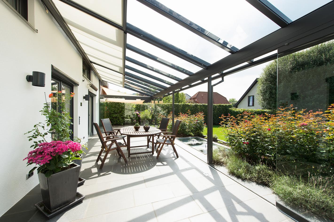 Solarlux Atrium üvegtető belső textil árnyékolással